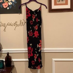Beautiful vibrant black red floral dress